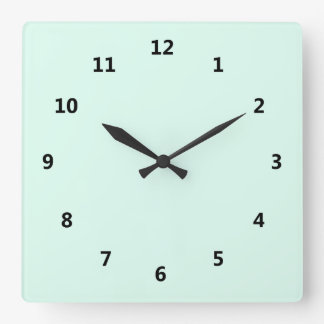 Custom Solid Light Mint Green Color Square Wall Clock