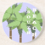 Custom SOUTH BEACH Miami Palm Tree on Lavender Drink Coaster