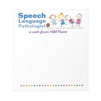Custom Speech Pathologist's Colorful Kids Note Pad