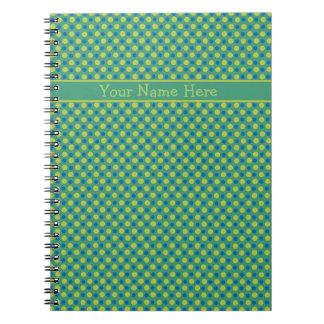 Custom Spiral Notebook, Blue and Green Polka Dots Spiral Notebook