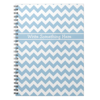 Custom Spiral Notebook, Blue and White Chevrons Notebook