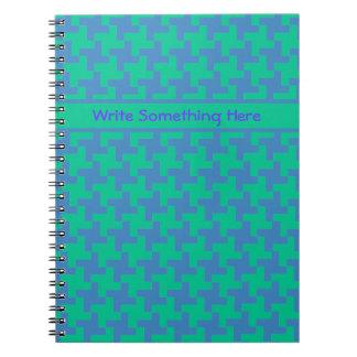 Custom Spiral Notebook, Emerald and Blue Dogtooth Notebook