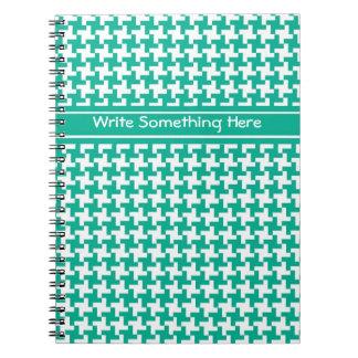 Custom Spiral Notebook, Emerald Dogtooth Check Spiral Notebook