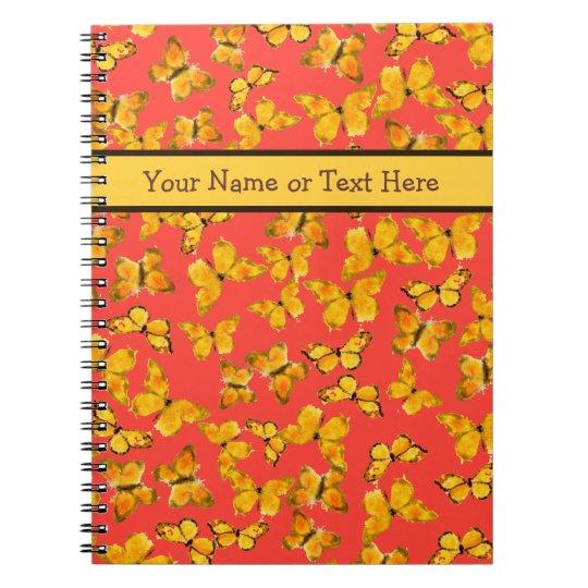 Custom Spiral Notebook, Golden Butterflies on Red Notebook
