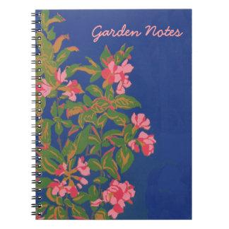 Custom Spiral Notebook, Pink Japonica on Blue Notebook
