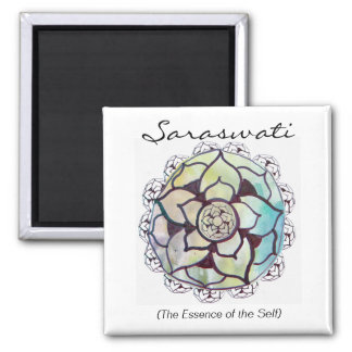 Custom Spiritual Name Magnet: Lotus Essence Design 2 Inch Square Magnet