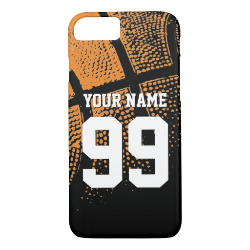 Custom sports basketball jersey number iphone case zazzle for How to customize your iphone case