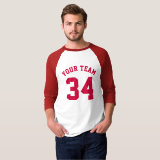 Custom Sports Jersey Red Add Your Name Team Number T-Shirt