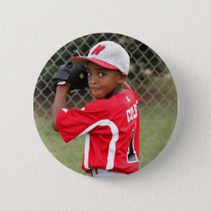 Custom Sports Photo Button at Zazzle