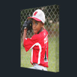 """Custom Sports Player Athlete Photo Wrapped Canvas<br><div class=""""desc"""">The Custom Sports Player Athlete Photo Wrapped Canvas: A very special, personalized gift for sports players and athletes of any age or sport. All you need is a high-quality vertical picture of the player. You could use an action shot (like the placeholder image) or a portrait style photo from picture...</div>"""