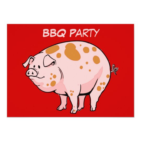 Custom Spotted Pig Red Pink BBQ Cookout Party Card