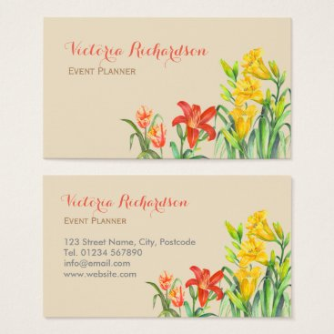 Professional Business Custom Spring Flowers Floral Art Business Card