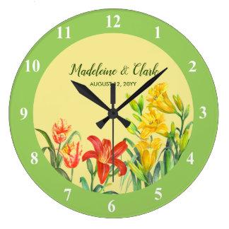 Custom Spring Flowers Floral Art Large Clock