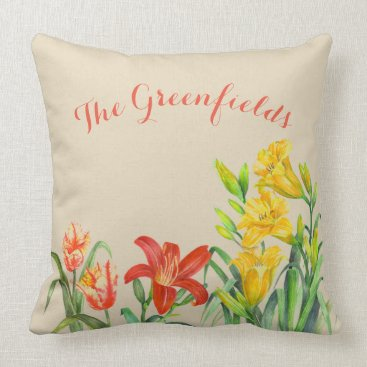 Professional Business Custom Spring Flowers Floral Art Throw Pillow