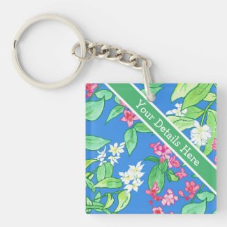 Custom Square Acrylic Keychain, Spring Blossoms
