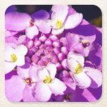 Hand shaped Custom Square Coasters Purple flower blossoms