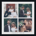 """Custom Square Collage Wedding Photo & Text Faux Canvas Print<br><div class=""""desc"""">Create your own canvas print wall art with your own wedding,  anniversary,  engagement and special event photos.</div>"""