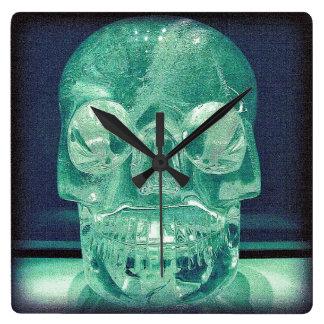 Custom Square Crystal skull Wall Clock