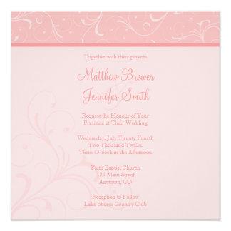 Custom Square Pink Flourish Wedding Invitation