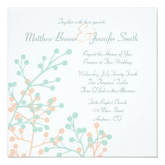 Custom Square Rustic Floral Wedding Invitation Personalized Invitation