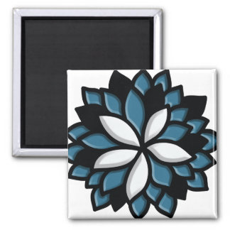 Custom Stained Glass Blue Flower Refrigerator Magnets
