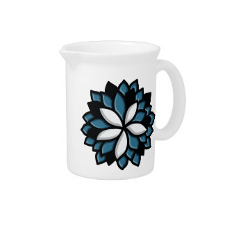 Custom Stained Glass Blue Flower Beverage Pitchers