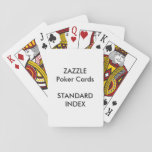 "Custom STANDARD INDEX Poker, Playing Cards<br><div class=""desc"">ZAZZLE Custom Printed (back of card) pack of Poker Cards (Playing Cards) Blank Template.</div>"