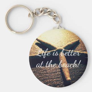 Custom starfish beach photo round button keychains