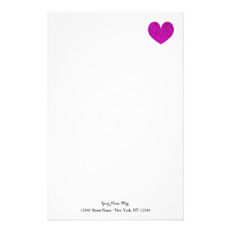 Custom stationery paper with pink glitter heart