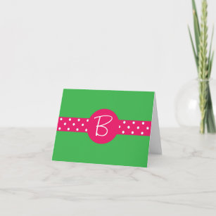 custom stationery ribbon w initial note card - Initial Note Cards
