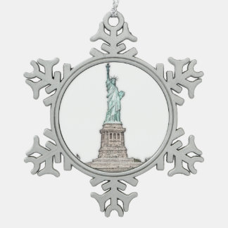 Custom Statue of Liberty New York City Christmas Snowflake Pewter Christmas Ornament
