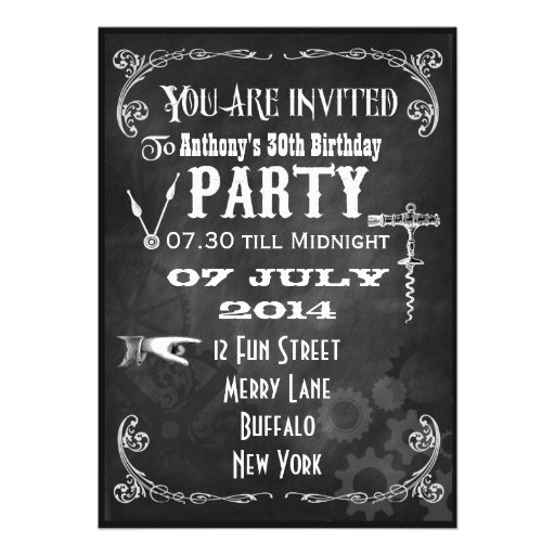 Custom Steampunk Chalkboard Birthday Party Invite