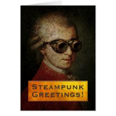 Custom Steampunk Mozart in Brass Goggles Card