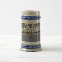 Custom Stein with photo of a flock of pelicans