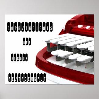 Custom Steno Red Machine Print