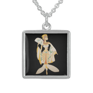 CUSTOM STERLING SILVER NECKLACE- GODDESS#2 SQUARE PENDANT NECKLACE
