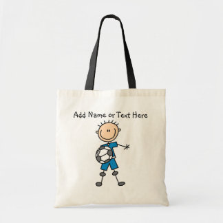 Custom Stick Figure Blue Soccer Player  Bag