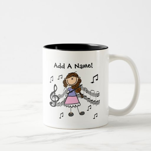 Customizable Stick Figure Girl Playing Violin Novelty Coffee Mug