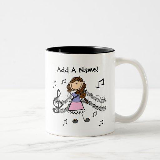 Customizable Stick Figure Girl Playing Violin Novelty Coffee Mug