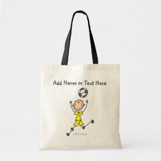 Custom Stick Figure Yellow Soccer Player  Bag