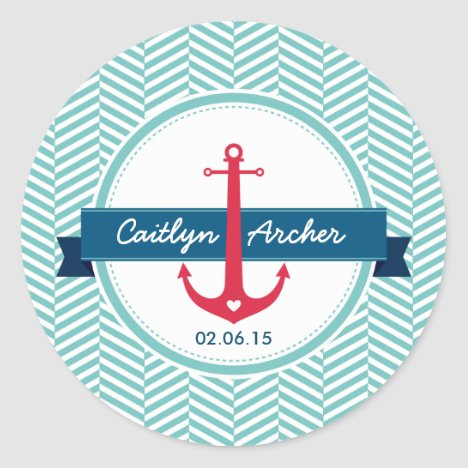 CUSTOM STICKER modern nautical anchor monogram