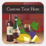 Custom Sticker, Wine Cheese Table Scene