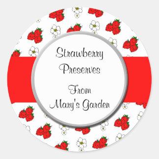 Custom Strawberry Pattern Canning Sticker