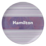 Custom Striped Lavender and Pink Tie Dye Plate
