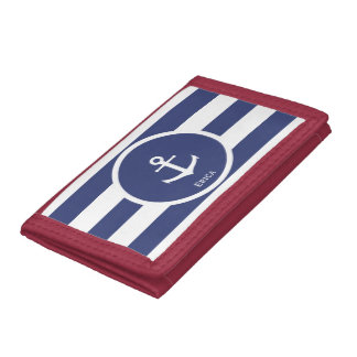 Custom Striped Nautical Anchor Wallet for Her