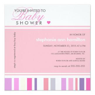 Custom stripes bubble gum baby girl shower invite