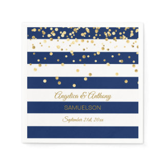 Custom Stripes Navy Blue Gold Wedding Anniversary Paper Napkin