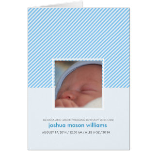 Custom stripes new baby boy announcement