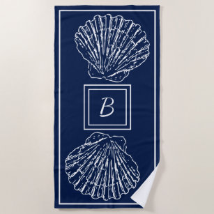 Custom Stylish Nautical Seashells On Dark Blue Beach Towel