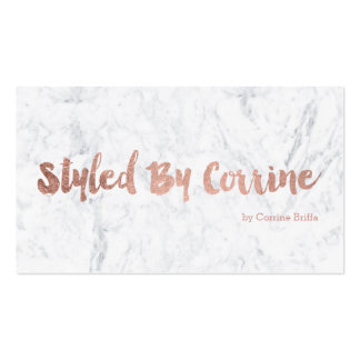 Custom stylist modern rose gold typography marble business card